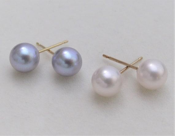 8.5-9mm ROUND White Pearl Stud Earrings Sterling Silver Freshwater Genuine AAAA