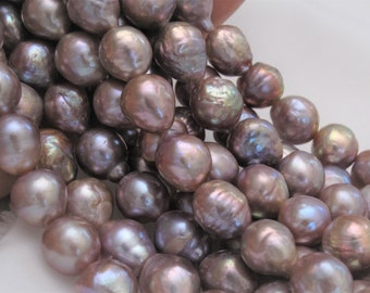 10-12mm Full Strand Mauve Pink/Purple Irregular Baroque Pearl Beads,High Luster Limited Genuine Cultured Baroque Freshwater Pearls(BQ-671)