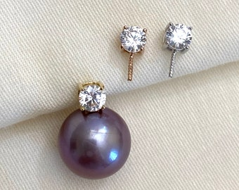 Solid 18K Gold Pendant Setting w/Cubic Zirconia for Half Drilled Pearls,Pearl Peg Pendant Bail,DIY PearlSetting,Pearl Pendant Mounts (K-804)