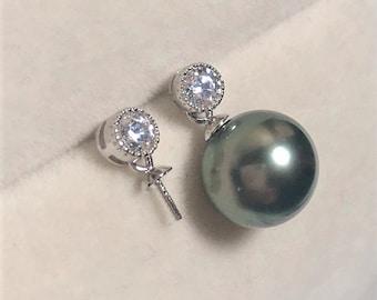 925 SterlingSilver Stud Earring Setting w/4mm CubicZirconia for Half Drilled Pearls Beads,DIY Earring Findings,Silver Earring Mounts(EF-500)