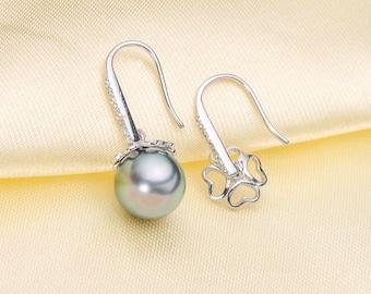 One Pair 925 Sterling Silver OR Gold Hook Earring Findings w/Peg Cap , DIY Earring Settings,Half Drilled Pearls Hook Earring Mounts (EF-456)