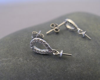 One Pair 925 Sterling Silver Oval Earring Findings w/Cubic Zirconia,DIY Earring Findings,Half Drilled Beads Earring Findings (EF-234)