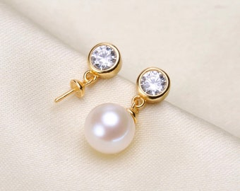 925 SterlingSilver/Gold 4 Or 5mm CZ StudEarring Setting,Half Drilled Pearl Earring Components,DIY 925 Sterling EarringMount Findings(EF-375)