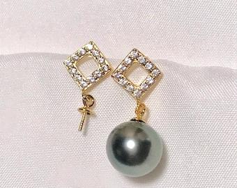 One Pair - 925 Sterling Silver Earring Findings, Wholesale Pearl Peg Earring Mounts,Half Drilled Pearl Silver Post Earring Settings (514-EF)