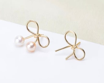 925 SterlingSilver OR Gold Bow Earring Setting for Half Drilled Pearls,DIY Pearl Jewelry Mounts,925 Sterling Silver Earring Findings(775-EF)
