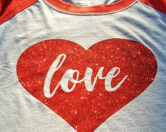 Red Sleeved Raglan with Mess-Free glitter heart