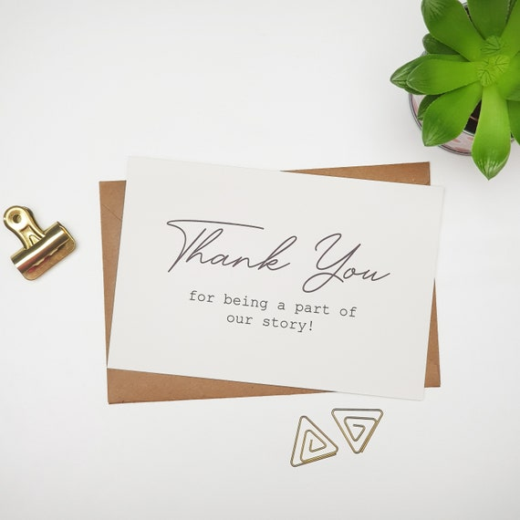 PACK OF 10 Thank you cards, thank you for being a part of our story card, wedding card, Calligraphy Wedding Cards, Wedding Thank You