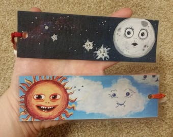 Sun and Moon Bookmarks: Set of Two