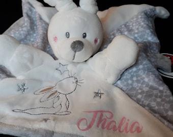 Cuddly plush Bunny, custom name for a newborn baby gift