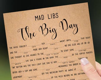 Wedding Libs game printable Rustic funny marriage Mad Libs story The Big Day Instant download PDF JPEG