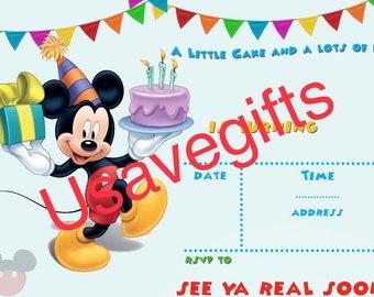 Items Similar To Mickey Mouse Birthday Invitation Card Printable