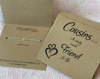 cousins cousins gift friendship bracelet birthday gift christmas gift for cousin