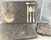 Placemat slate (6pcs,), slate plate, beautiful placemat, placemat engraving, placemat own motif, coaster slate