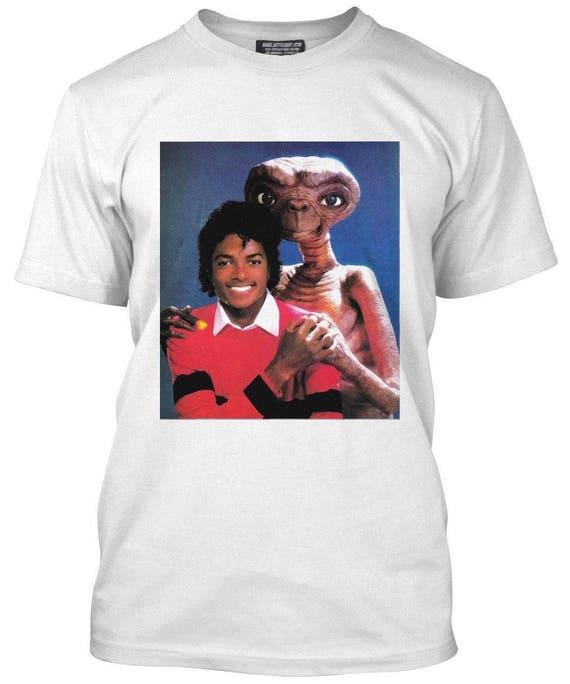 c995e9ba4843 Michael Jackson & E.T White T-shirt Size S-2xl Supreme Vintage image ...