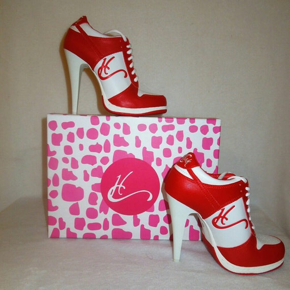 HC highheel sneakers red and white low