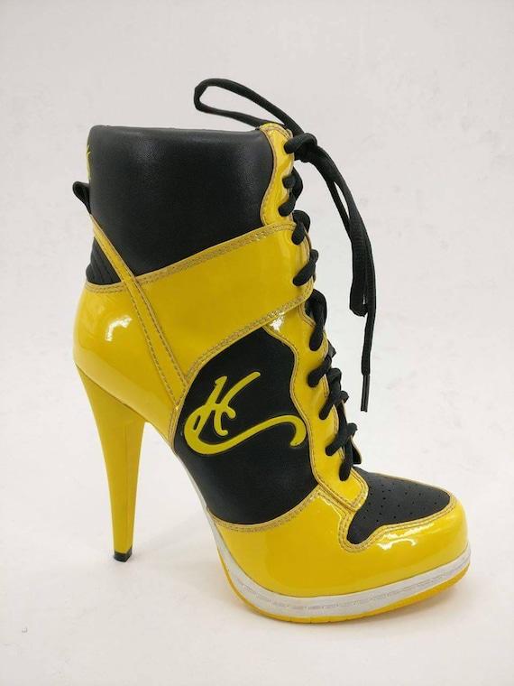 HC high heel sneakers black \u0026 yellow