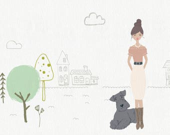 Family Portrait Illustration, DIGITAL Customized Family Portrait, Custom Family Illustration, Printable Portrait Illustration
