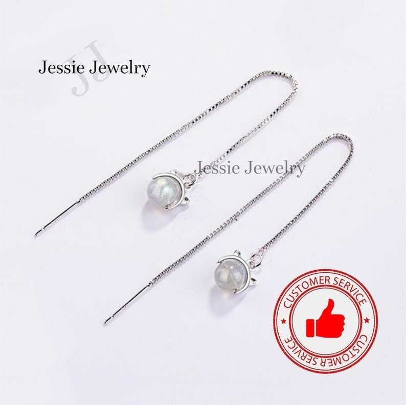 Cat Long Dangle Earring Gifts for Women Moonstone Crystal Sterling Silver 925 Push Back Crystal Silver Jewelry Gemstone