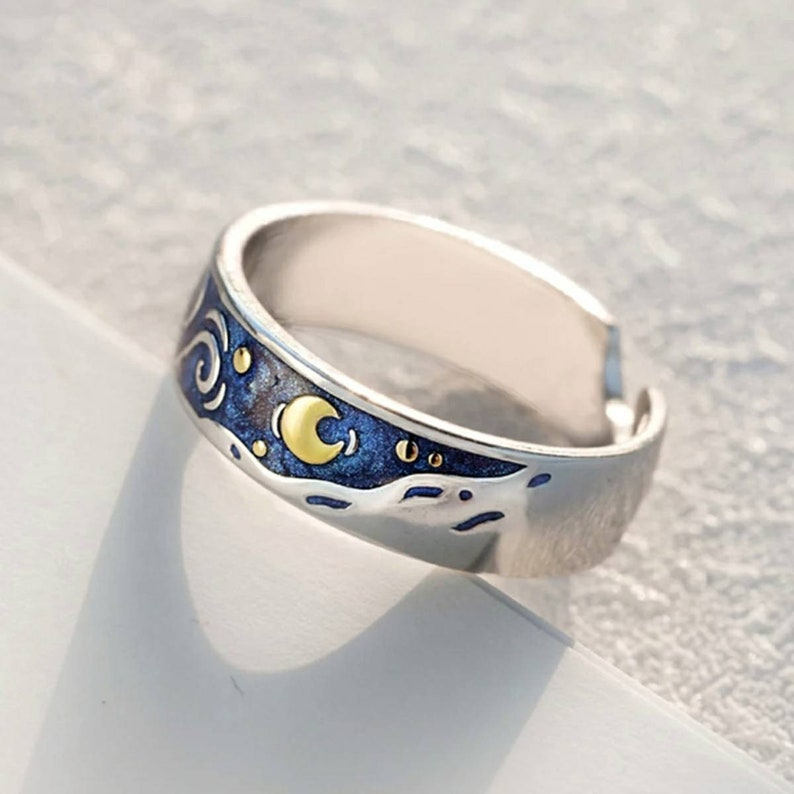 Van Gogh inspired Starry Night Ring 925 Silver Sterling Ring  for Couple Adjustable 5-9 US Starry Night pendant crescent moon necklace