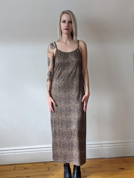 Vintage Leopard Print Slip Dress