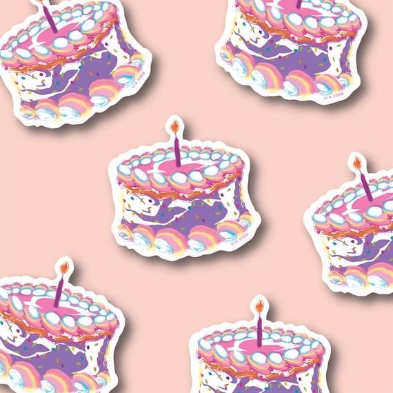 Rainbow Funfetti Explosion Birthday Cake Stickers Etsy