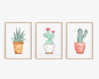 Instant Downloadable Set of 3 Watercolor Cacti Prints 8x10 Unframed Illustration Nursery decor Cactus Home decor Cactus Wall decor Cactus