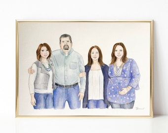 Custom Portrait Of Family Illustration Personalized Watercolor With Pets Gift Ideas Painting