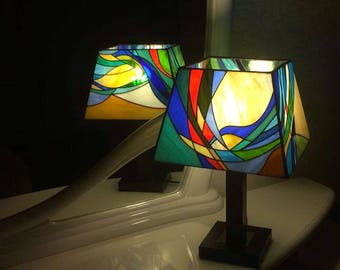 """Stained Glass Table Lamp """"Elements"""""""