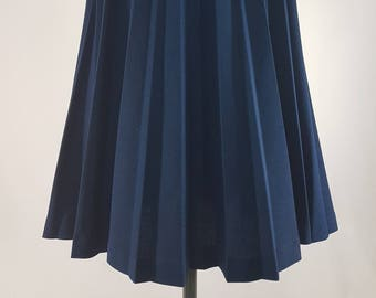 70s Vintage Pleated Skirt/ Navy Blue/ Medium