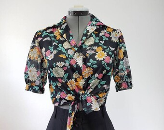 80s Vintage floral blouse/ Sheer/ Small
