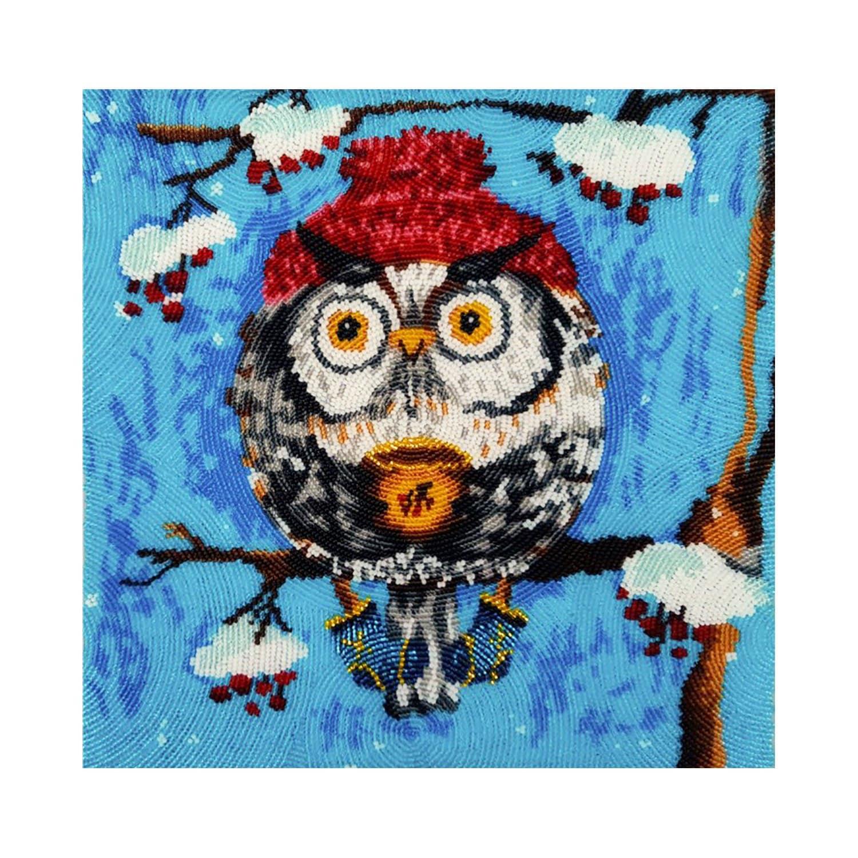 Hiver, perlant kit, kit de de de perles Positive, kit de bonne humeur, kit perles hibou, art mural chouette, hibou perlée, kit de broderie hibou, décor à la maison d'hiver 4e744b