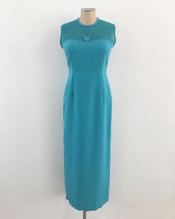 Vintage 1970s turquoise maxi dress, Turquoise dres