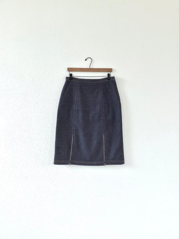 Vintage 90s denim skirt, 1990s dark blue denim ski