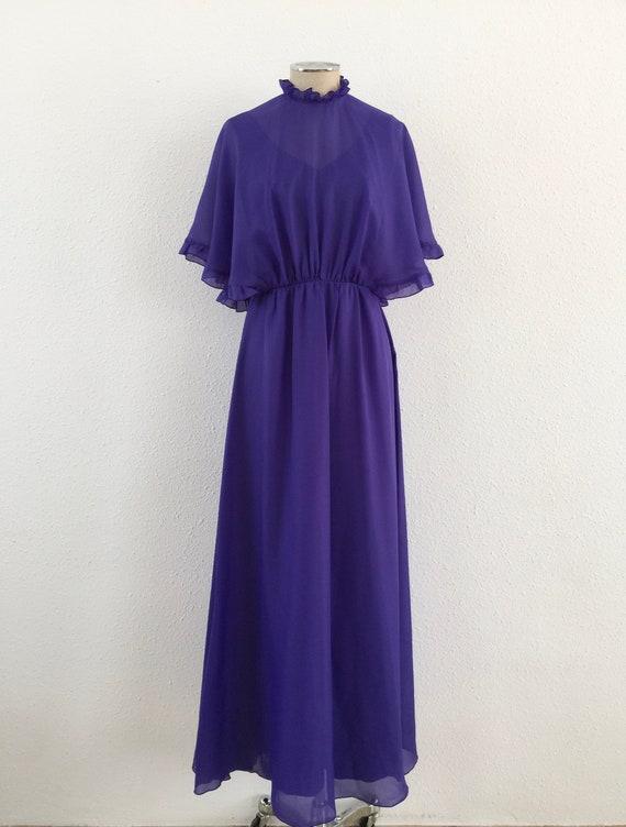 Vintage 1970s purple maxi dress, 1970s Maxi dress,