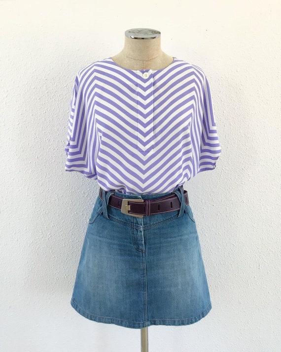 Vintage geometric striped blouse, Vintage striped