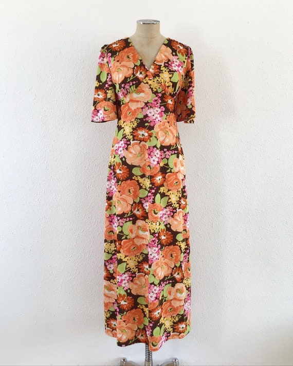 Vintage 1970s floral maxi dress, Vintage wedding d
