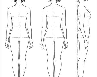 Croquis template etsy female figure vector sketchfashion croquiswoman silhouetteadobe illustrator design templateproportiondigital artepsaijpgpng file maxwellsz