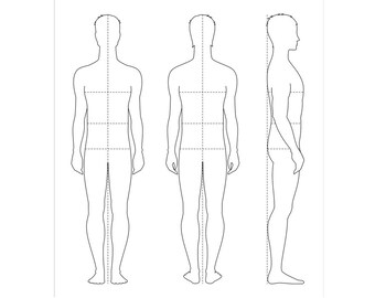 Male Figure Vector Sketch Fashion Croquis Man Silhouette Etsy
