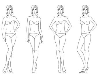 Croquis template etsy female silhouette vector sketchfashion croquiswoman silhouetteadobe illustrator design templateproportiondigital artepsaijpgpng maxwellsz