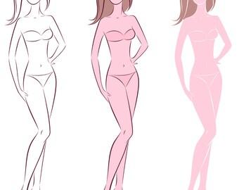 Croquis template etsy female silhouette vector sketchfashion croquiswoman silhouettehand drawingadobe illustrator design templatedigital artepsaijpgpng maxwellsz