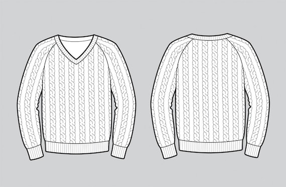 Cable knit sweater vector fashion flat sketch, Adobe Illustrator design,  technical outline, flat drawing, digital clip art,eps,ai, jpg, png