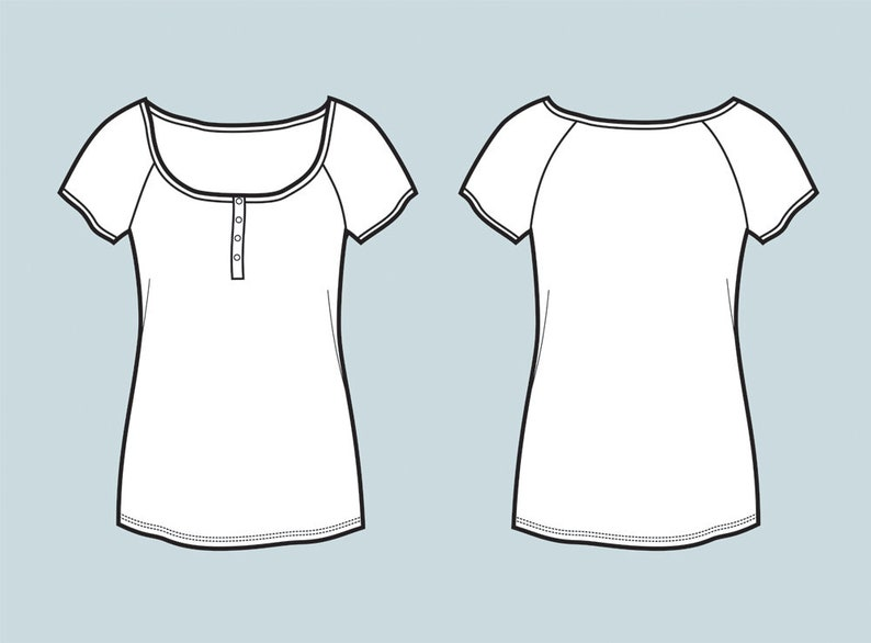Button up top / t-shirt vector fashion flat sketch, Adobe Illustrator  design,technical outline,flat drawing,digital (eps, ai, jpg, png file)