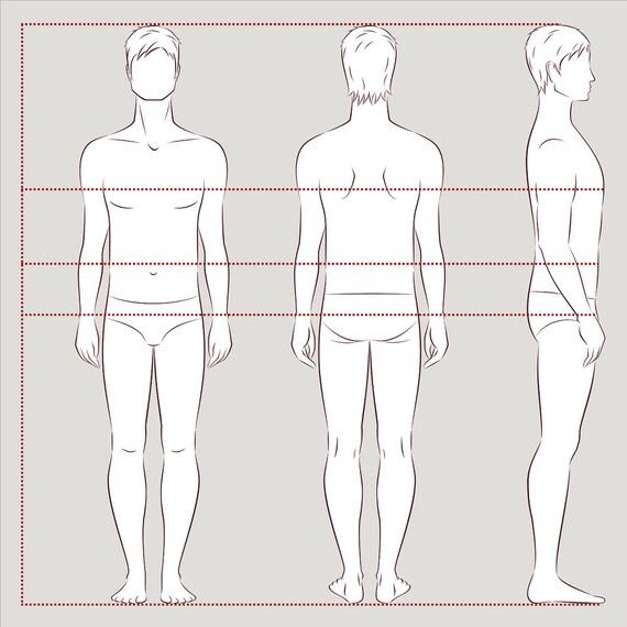 Männliche Figur Vektor Skizze Mode Croquis Mann-Silhouette | Etsy