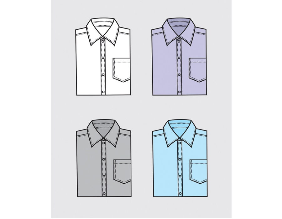 Men's folded dress shirt vector fashion flat sketch, Adobe Illustrator  design, technical outline, flat drawing, digital, eps, ai, jpg, png