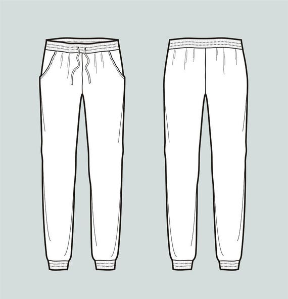 Jogger pants vector fashion flat sketch Adobe Illustrator ...