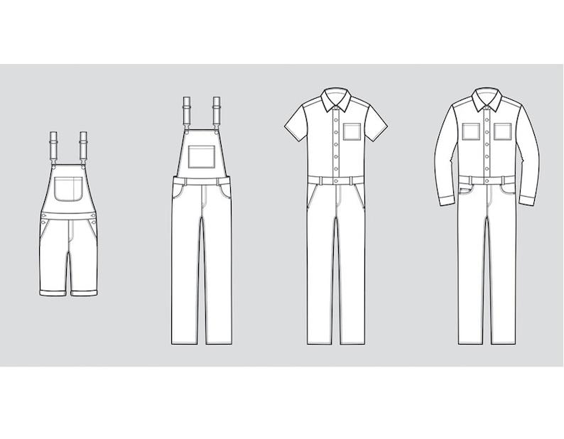 0db16b065f73 Jean overalls vector fashion flat sketch Adobe Illustrator