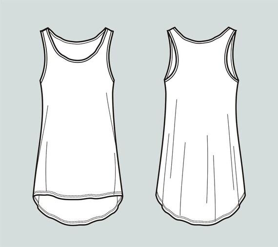 Tank-Top Vektor Modedesign flache Skizze Adobe Illustrator | Etsy