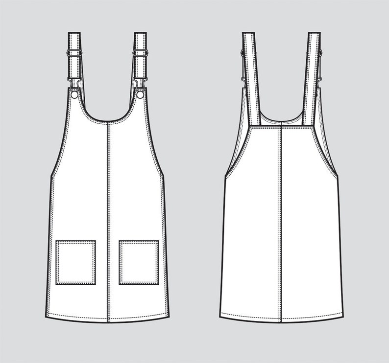 54d4264ad675 Women s jean overall dress vector fashion flat sketch