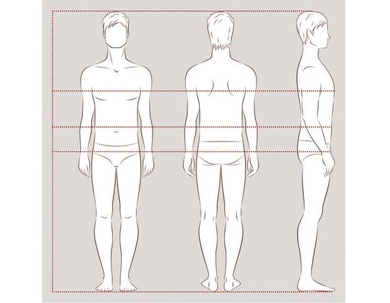 Male Figure Vector Sketch Fashion Croquis Man Silhouette Adobe Illustrator Design Template Proportion Digital Clip Art Eps Ai Jpg Png File