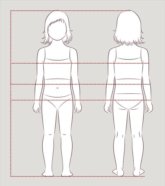 Mädchen Kind Figur Vektor Skizze Mode Croquis Kind   Etsy